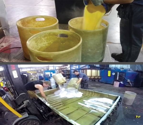 Rotational Molding Material being weighed out; Rotational Mold being loaded with Material